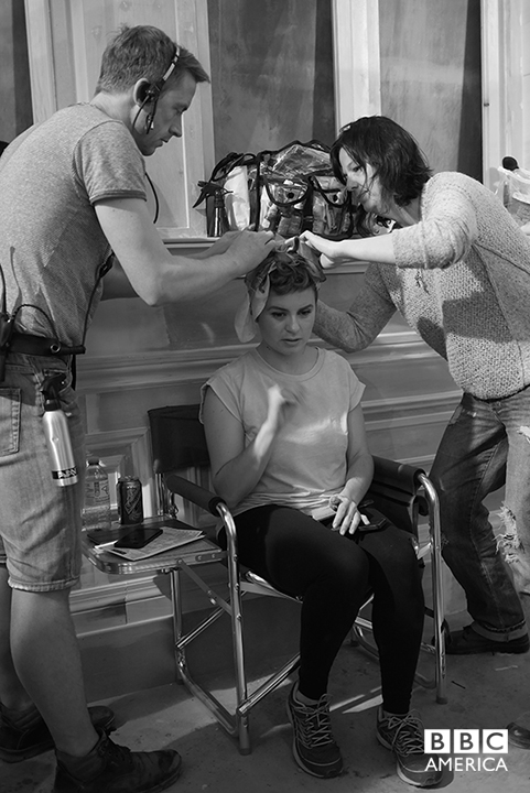 Episode 8: Wardrobe (Peter) and Hair (Josie) making up Makeup assistant, Kristin Wayne