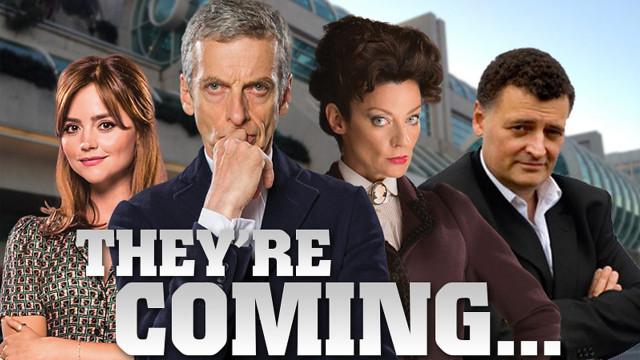 Jenna Coleman, Peter Capaldi, Michelle Gomez and Steven Moffat (Pic: BBC)