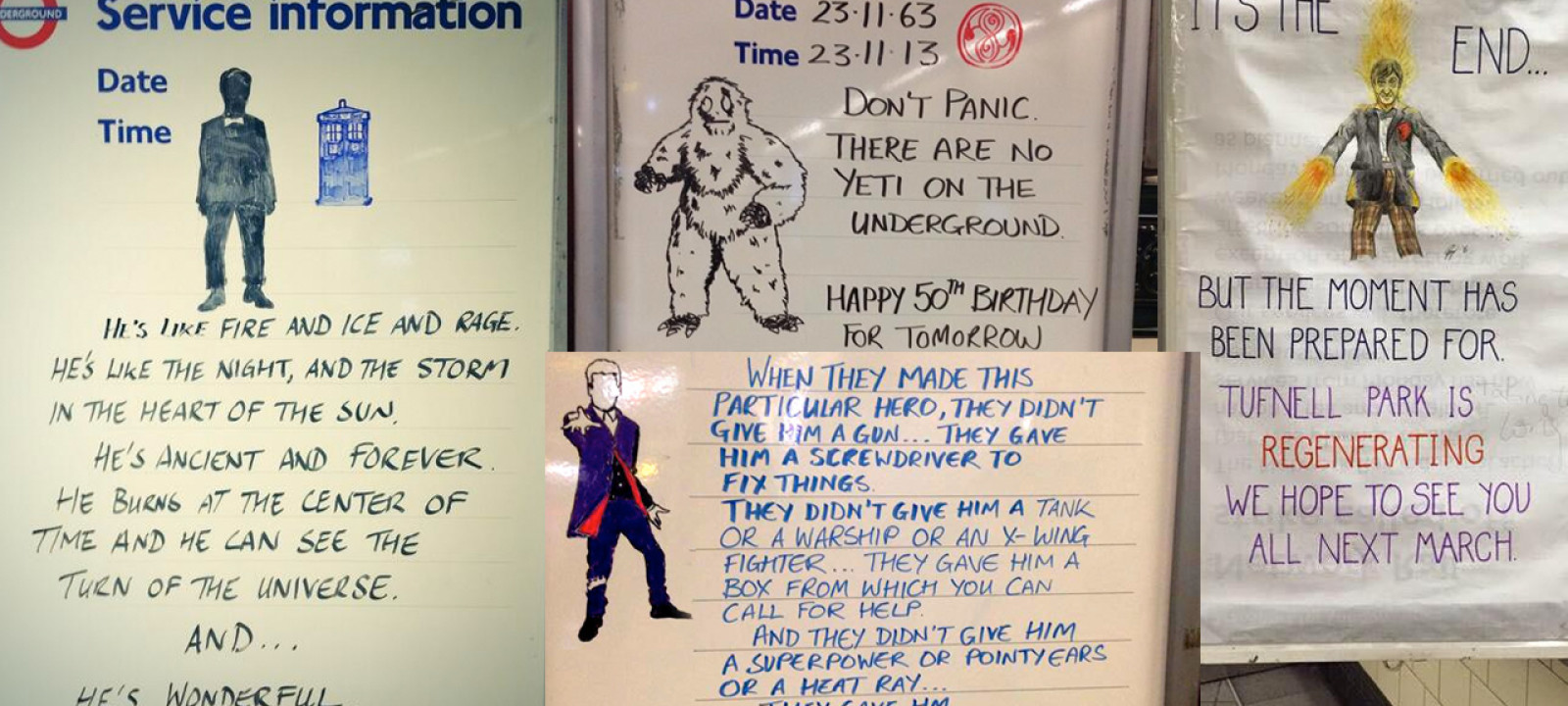 The 'Doctor Who' signs of Tufnell Park station (Pics: Twitter)
