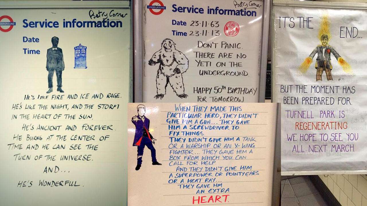 The 'Doctor Who' signs of Tufnell Park station (Pics: Twitter/Talia Kraines)