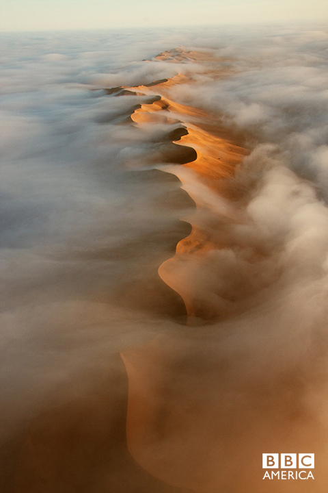 Episode 1  An aerial view of Namib desert dunes. The dunes receive very little by way of rain, sometimes years pass between showers, but an almost daily cloak of vaporous fog provides just enough moisture to allow life to cling on in this, the oldest desert in the world.