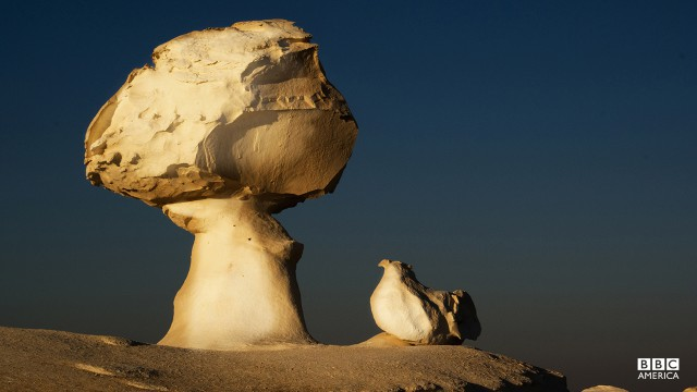 Episode 5  The White Desert in Egypt is dominated by strange formations, ancient coral reefs carved and shaped by wind blown sand.
