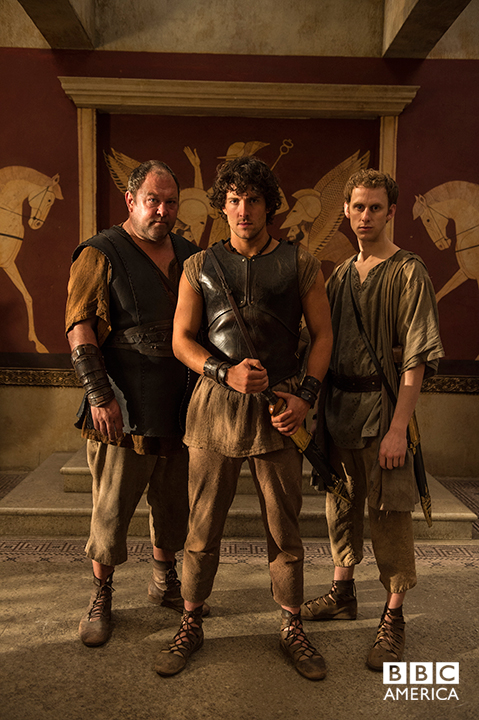 Hercules (Mark Addy), Jason (Jack Donnelly), and Pythagoras (Robert Emms).