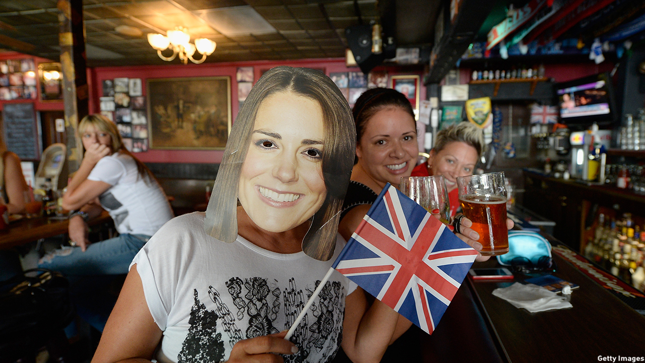 A group of friends celebrate Prince George's birthday at the Ye Olde King's Head British pub in Santa Monica, CA. (Kevork Djansezian/Getty Images)
