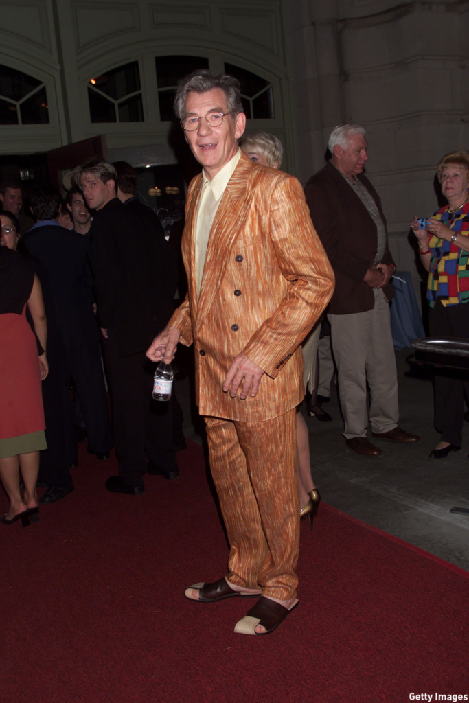 McKellen got creative with his wardrobe at the world premiere of 'X-Men' on Ellis Island in New York City in 2000. (Scott Gries/Getty Images)