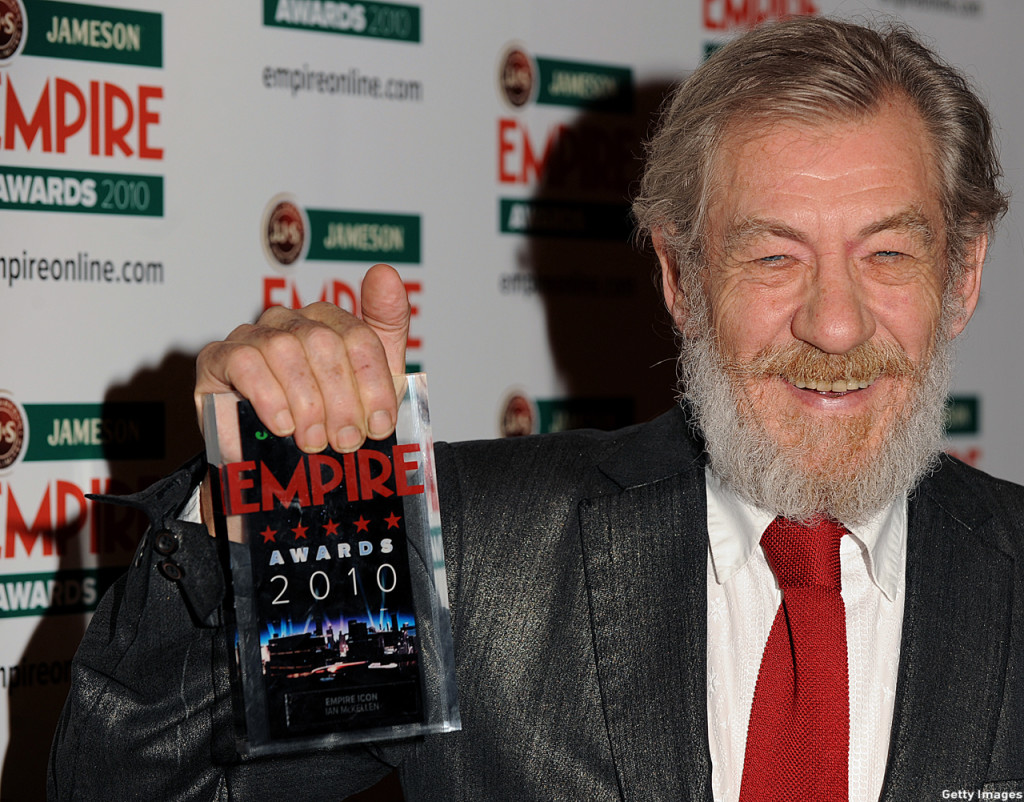 McKellen posed with his Icon award during the 2010 Empire Film Awards in London. (BEN STANSALL/AFP/Getty Images)
