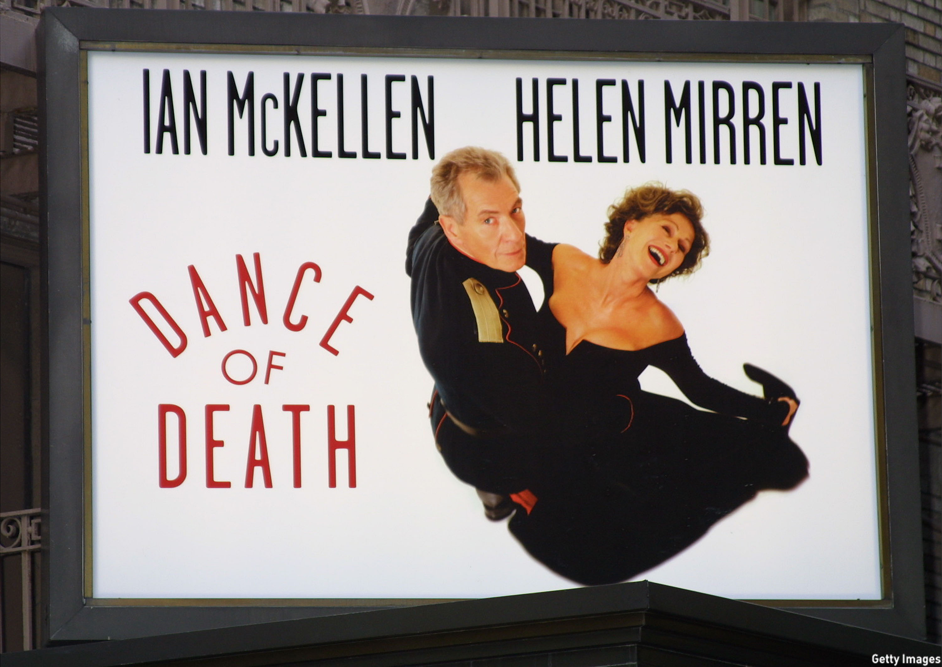 In 2001 McKellen and Dame Helen Mirren were spotted on the marquee for the Broadway play 'Dance of Death.' (George De Sota/Getty Images)