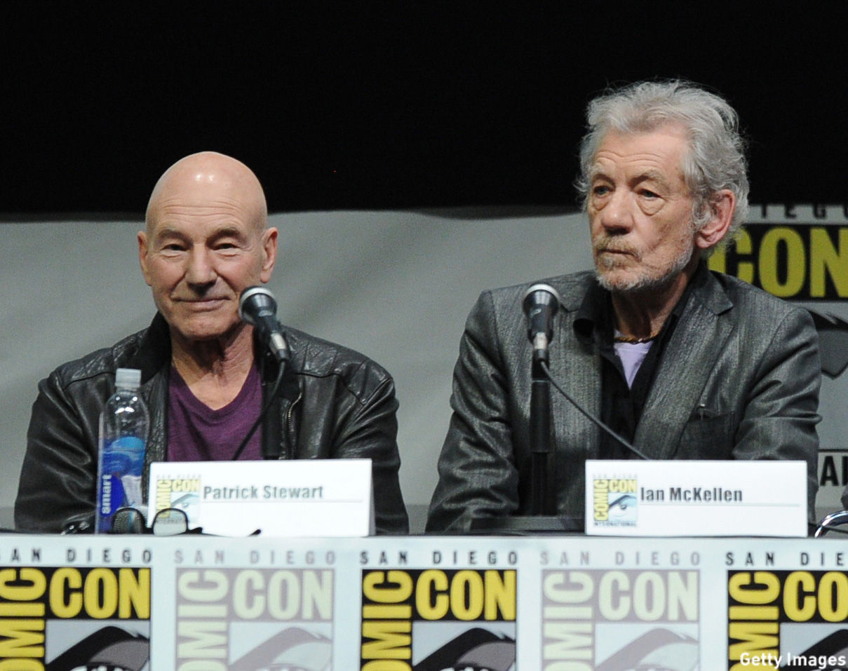 McKellen and Stewart sat on the 20th Century Fox panel to talk 'X-Men' during Comic-Con International 2013 at San Diego Convention Center. (Kevin Winter/Getty Images)