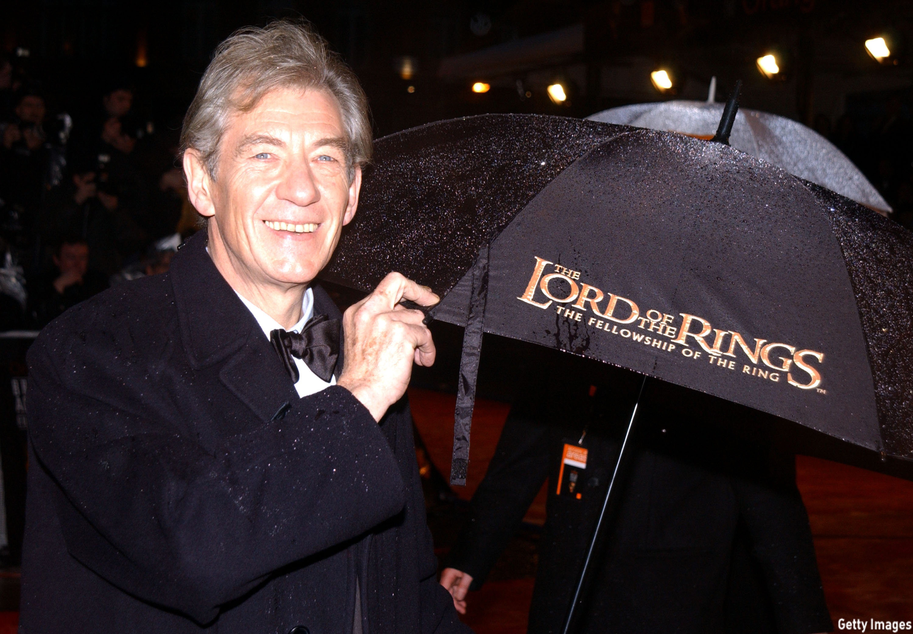 McKellen arrived to the 2002 British Academy Film Awards with a decked-out umbrella. (Anthony Harvey/Getty Images)