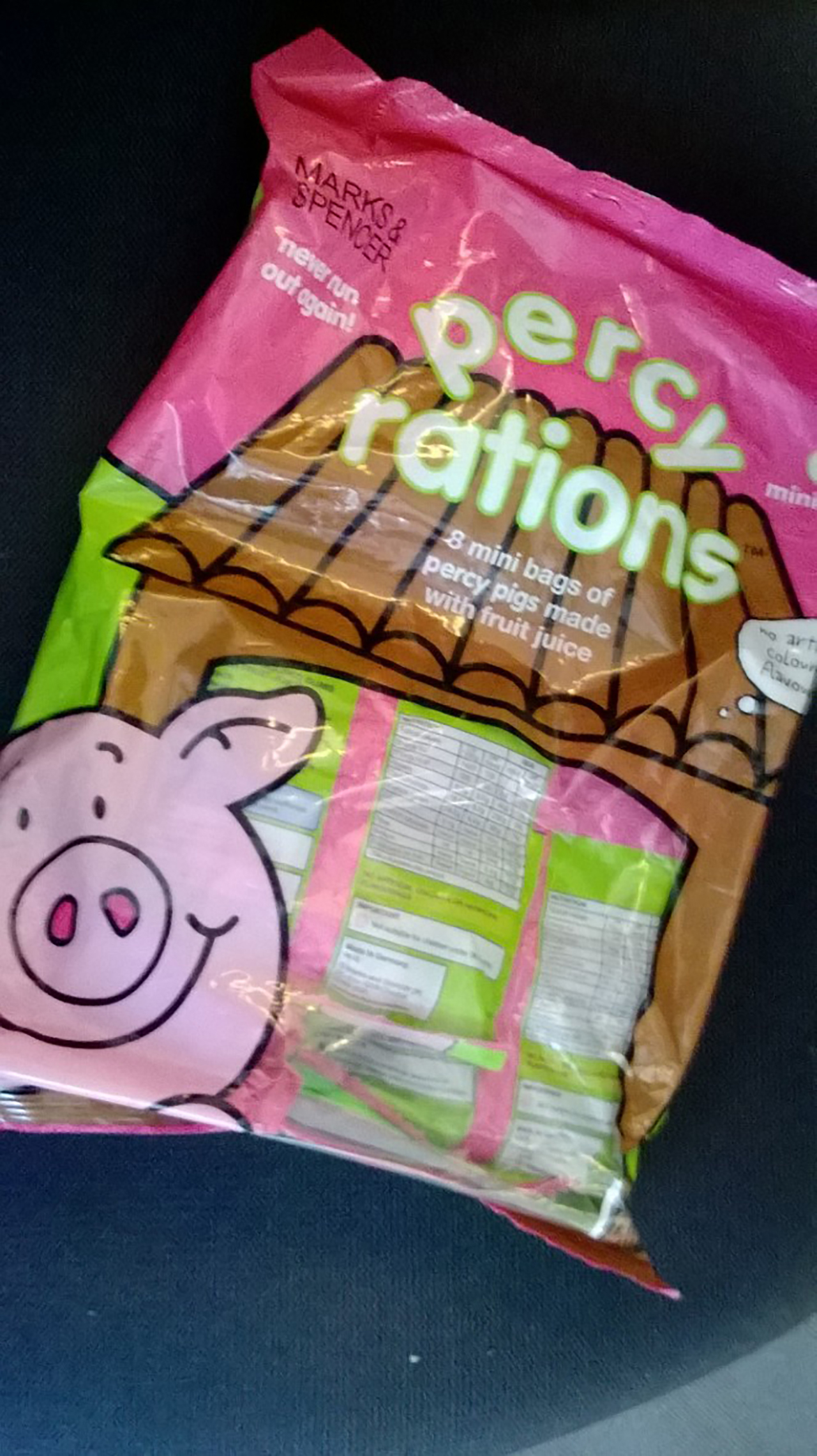 If you send them, we will share the chewy Percy Pig large bag of rations from Marks & Spencer. (BB)
