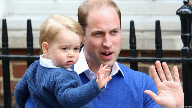 Prince George learned how to greet the public from his dad Prince William while in London in May 2015. (Chris Jackson/Getty Images)