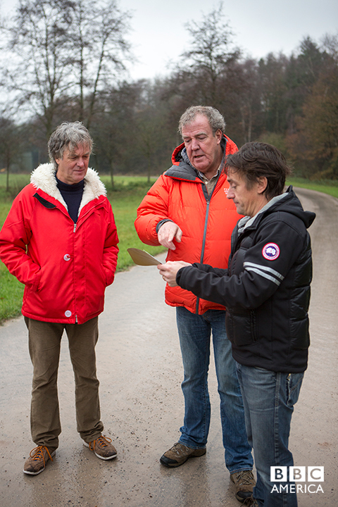 James May, Jeremy Clarkson and Richard Hammond read a challenge from the Producers.