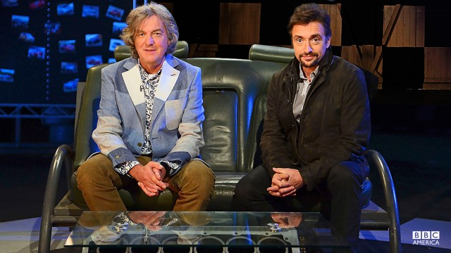 James May and Richard Hammond in the Top Gear studio.