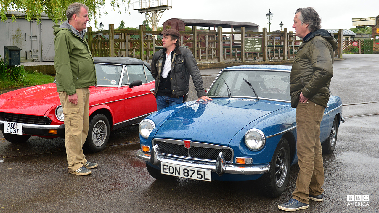 Jeremy Clarkson, Richard Hammond and James May with a Fiat 124 Spider and a MGB GT.