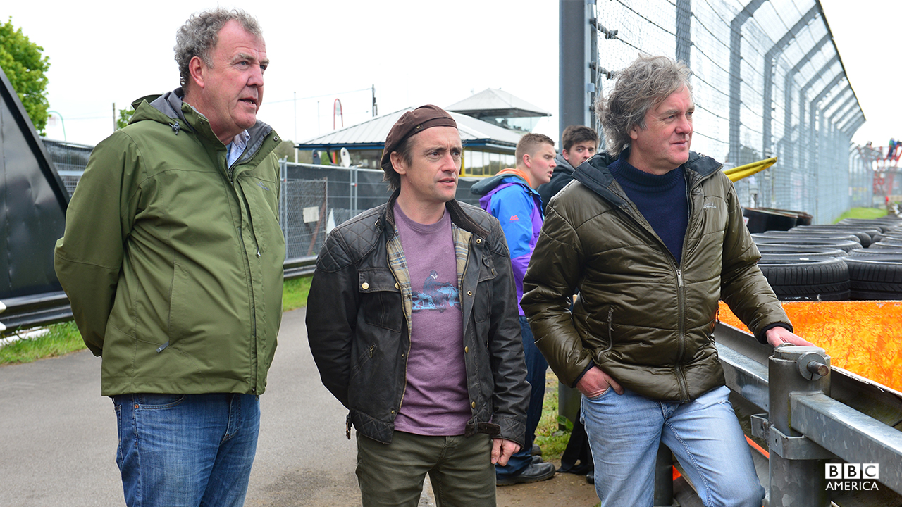 Jeremy Clarkson, Richard Hammond and James May at Jap Fest, Castle Combe Circuit.