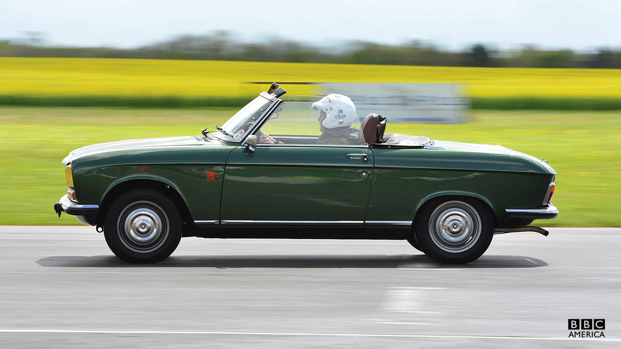 James May driving the Peugeot 304 Cabriolet at Jap Fest, Castle Combe Circuit.