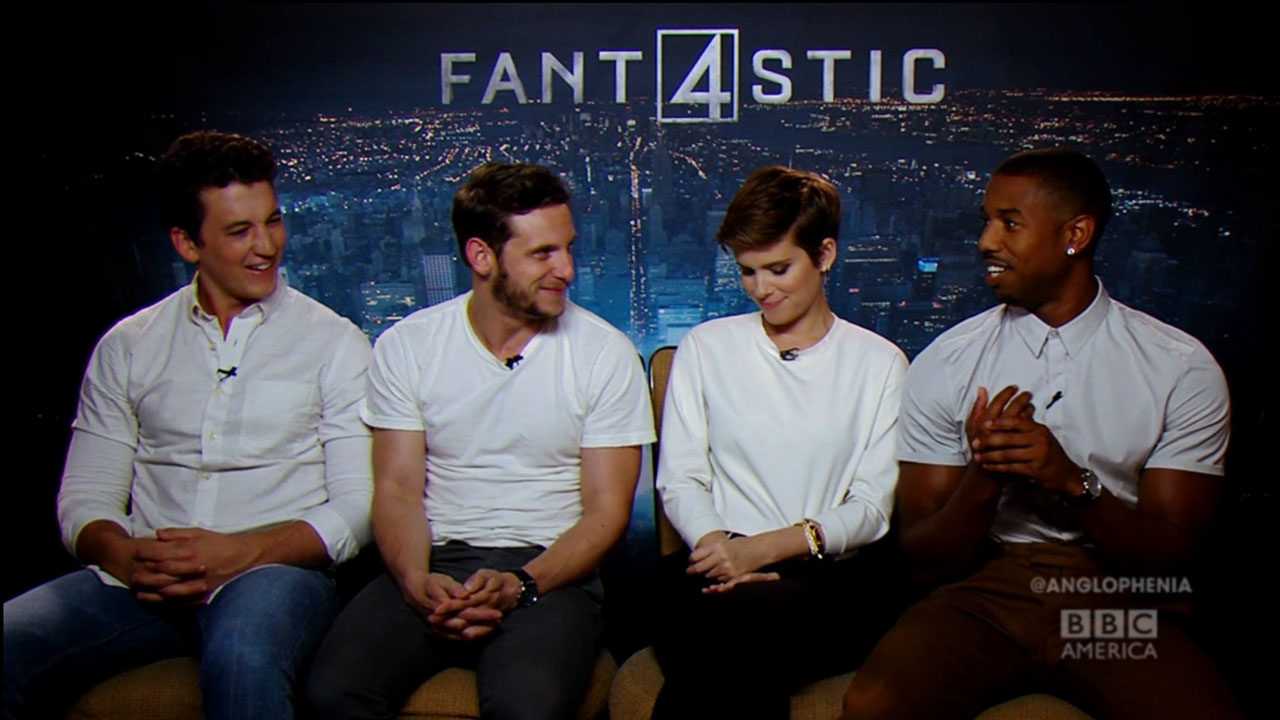 The 'Fantastic Four' cast Miles Teller, Jamie Bell, Kate Mara, and Michael B. Jordan.