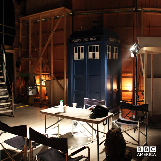 The TARDIS takes a well-earned break backstage.