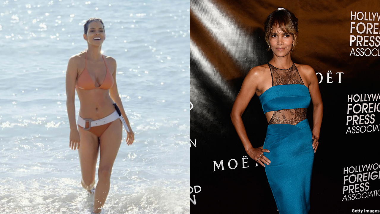 Halle Berry as Jinx Johnson in 2002's Die Another Day (left) and in 2015 (right). (MGM/Getty Images)