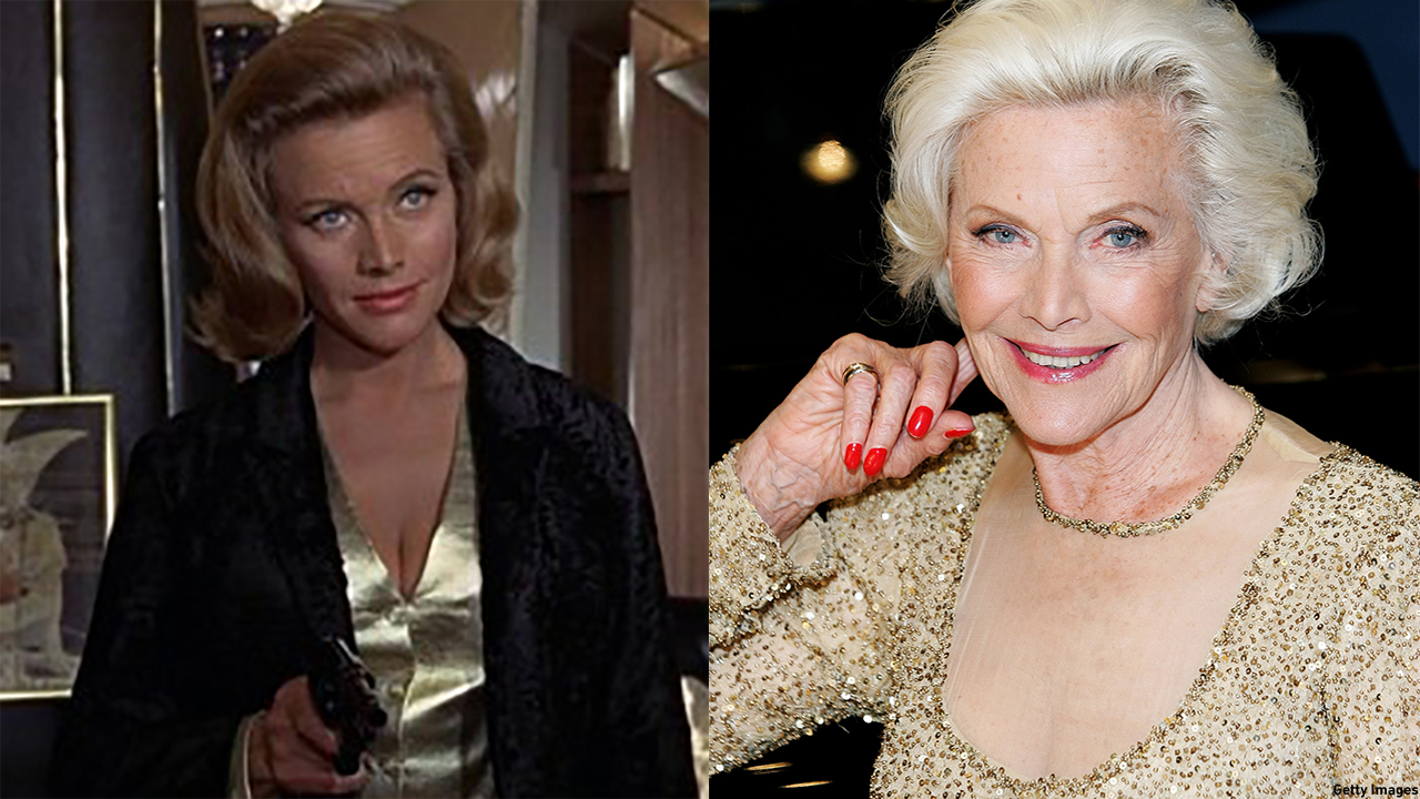 Honor Blackman in 1964's 'Goldfinger' (left) and in 2008 (right). (Photo: MGM/Getty Images)