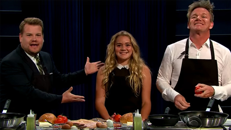 James Corden, Tilly and Gordon Ramsay (Pic:  CBS)