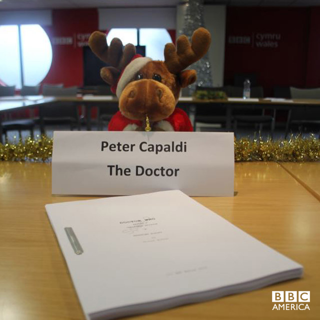 Christmas starts early for the 'Doctor Who' team! This image was taken just after the Christmas Special read-through.