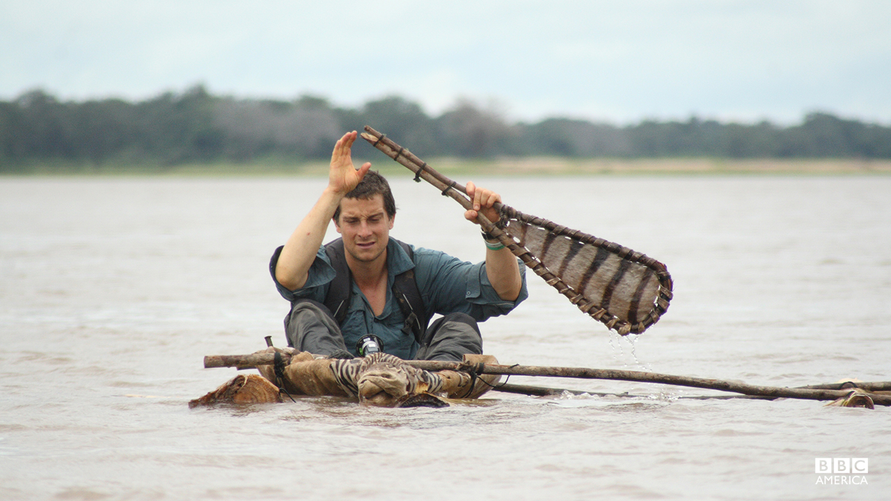 Bear Grylls in Namibia.