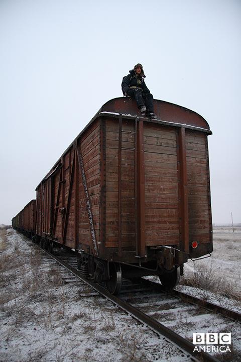 Bear Grylls in Siberia.
