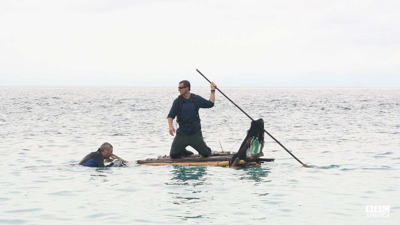 Bear Grylls on a Pacific Island.