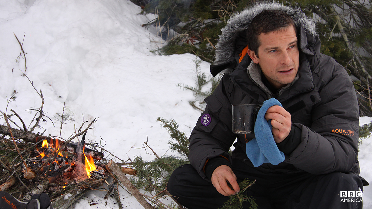 Bear Grylls in the 'Shooting Survival' special.