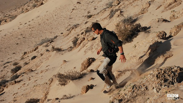 Bear Grylls in Northern Africa.