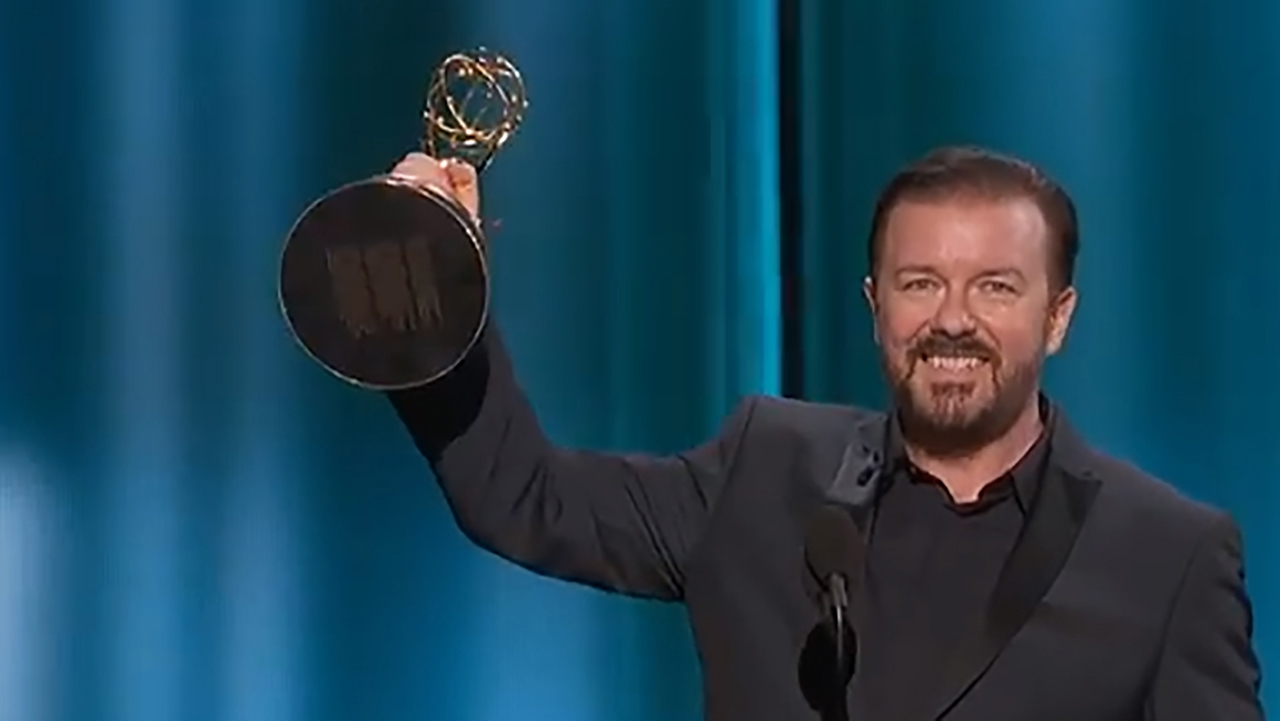 It may look like it, but Ricky Gervais did not win an Emmy this year. (YouTube)