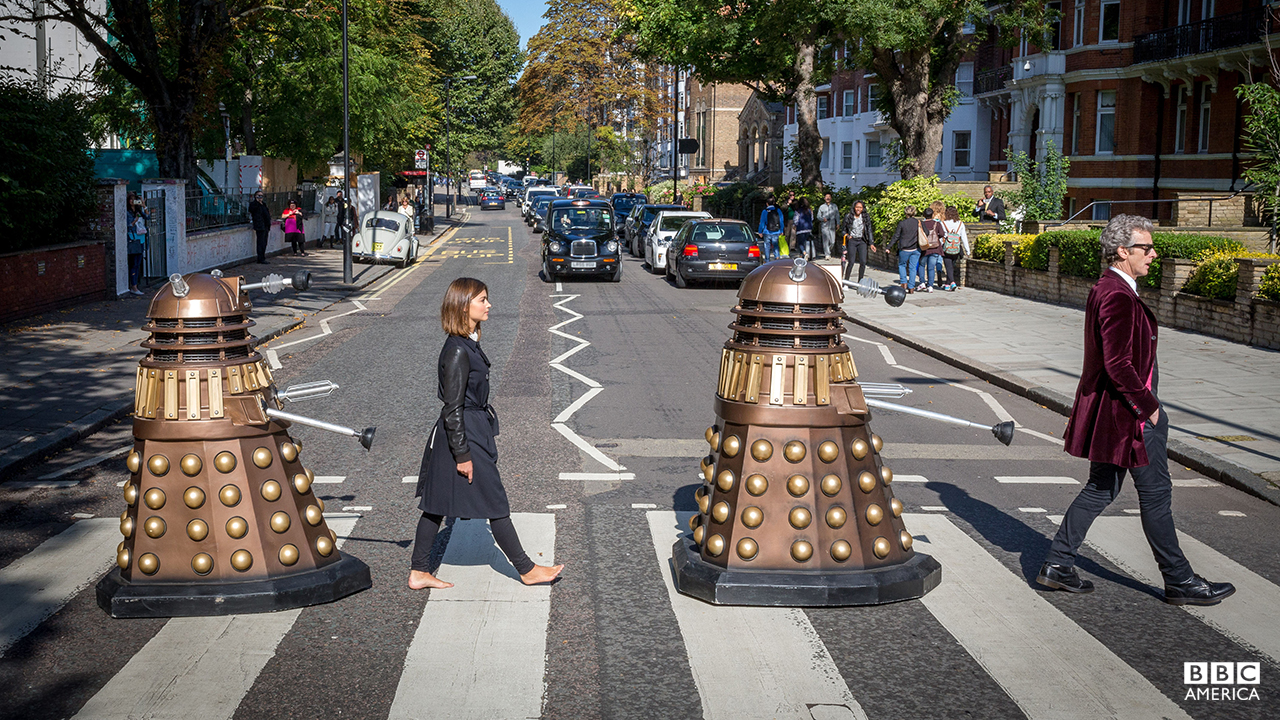 The Doctor (Peter Capaldi) and Clara (Jenna Coleman) make a guest appearance at the iconic Abbey Road crossing, London, as they rock out in style accompanied by the extraterrestrial Daleks.