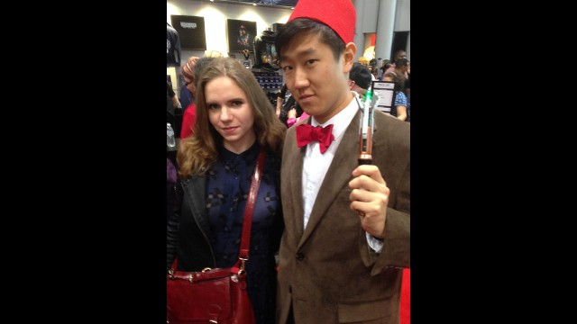 The Eleventh Doctor (with Fez) and Clara Oswald cosplay. (Photo: BBC AMERICA)