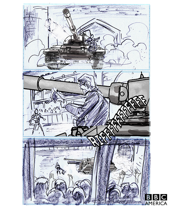 "Mike Collins drew these storyboards for ""The Magician's Apprentice."""