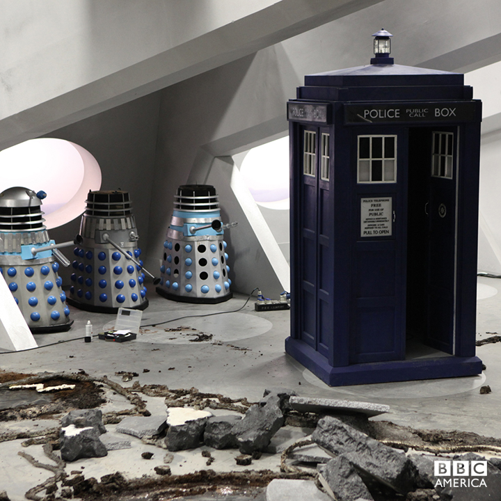 The TARDIS looks in better shape than these Daleks, thanks to the Hostile Action Dispersal System.