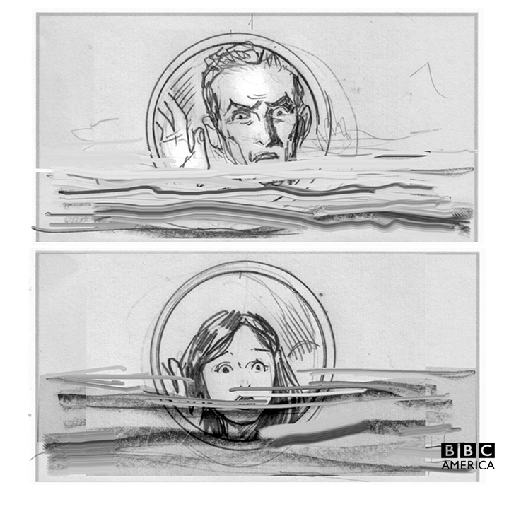 "The Doctor and Clara talk through the flood doors in Mike Collins' storyboards for ""Under the Lake."""