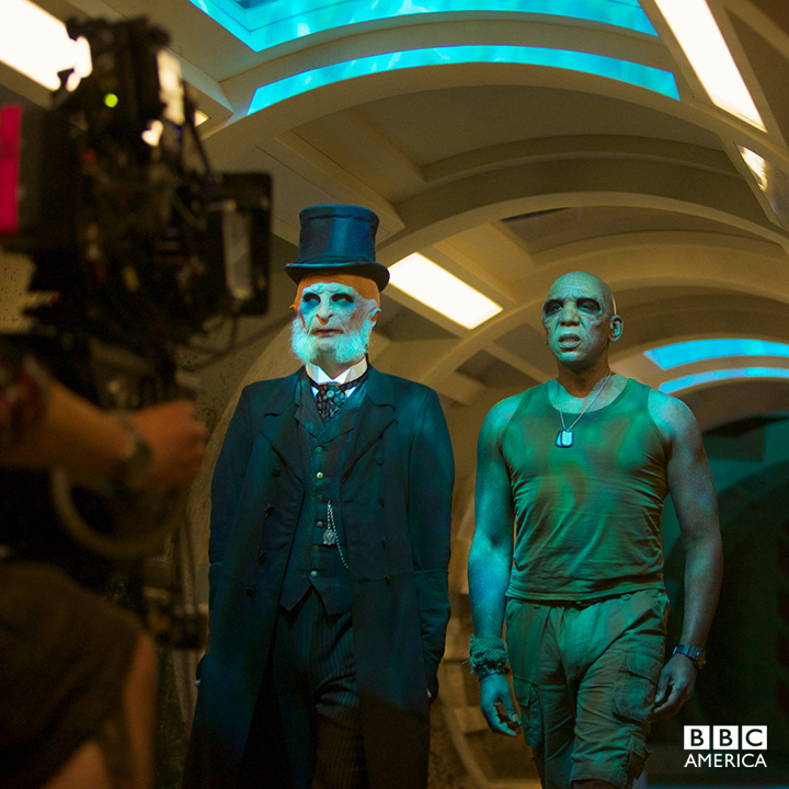 "Paul Kaye and Colin McFarlane film their ghostly scenes in The Drum's corridors for ""Under the Lake."""