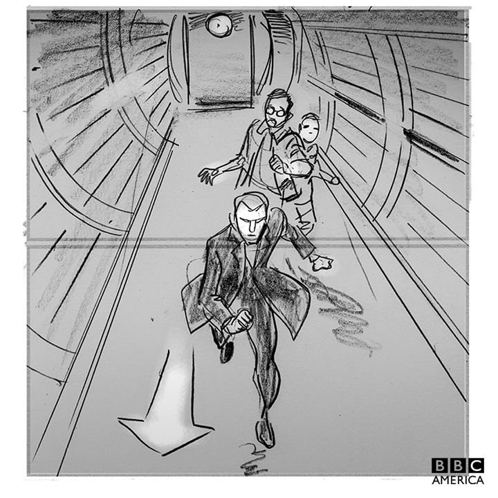 "The Doctor, Bennet, and O'Donnell race to the TARDIS in Mike Collins' storyboards from ""Under the Lake."""
