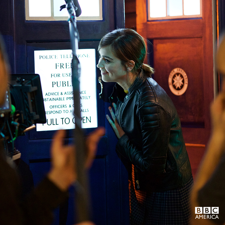 "Jenna Coleman filming ""Under the Lake."""
