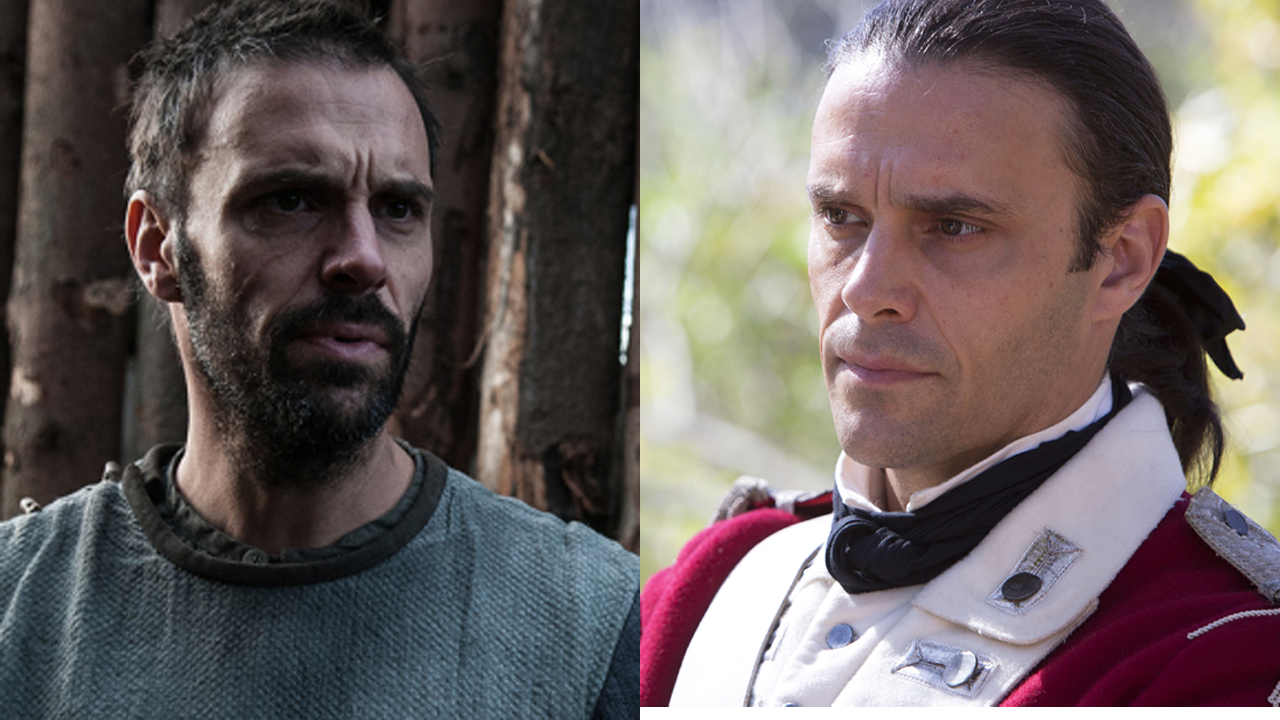 Joseph Millson in 'The Last Kingdom' (left) and 'Banished.' (Photos: BBCA/BBC Two)