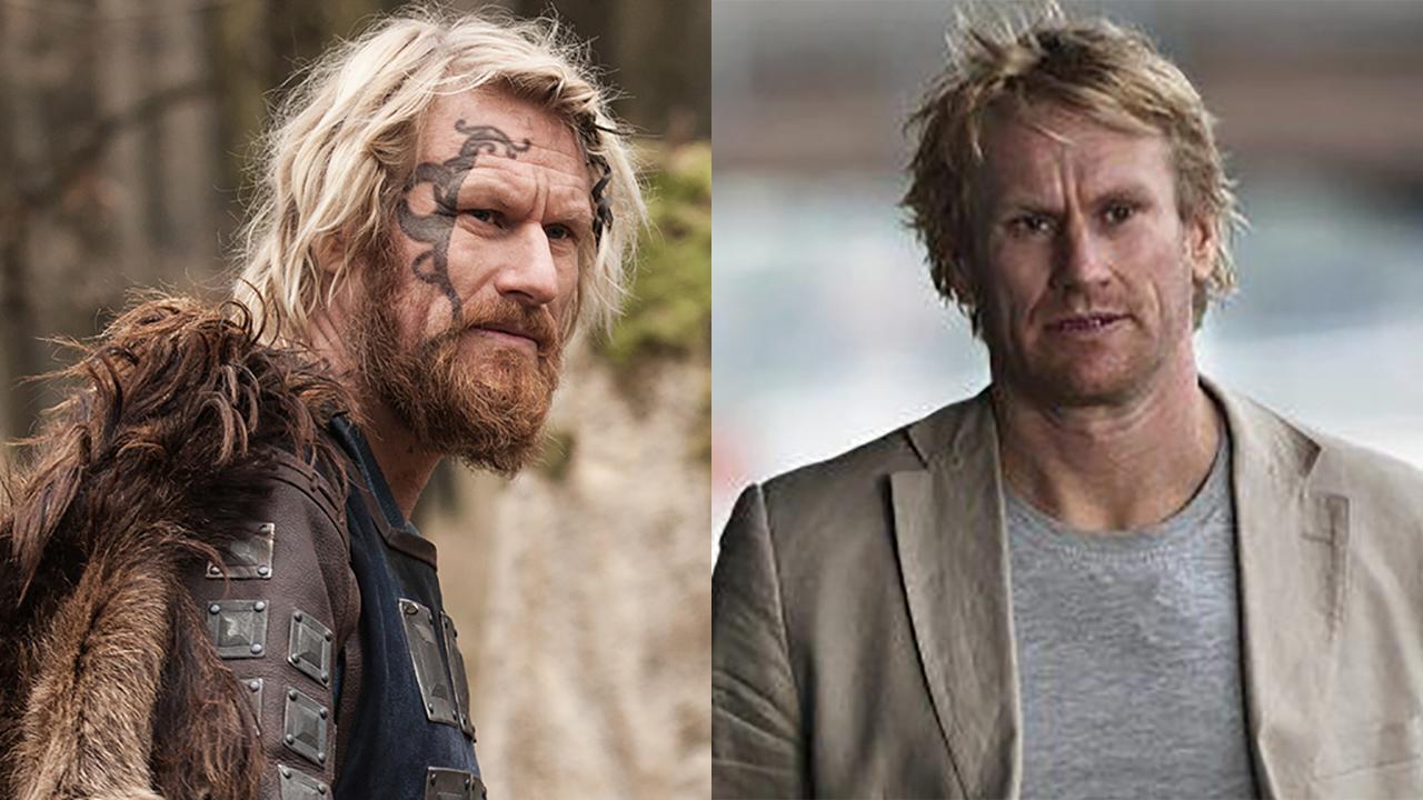 Rune Temte in 'The Last Kingdom' (left) and 'Ulykken.' (Photos: BBCA/Fender Film)