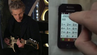 The Doctor jams with a phone. (Photo: BBC/YouTube)