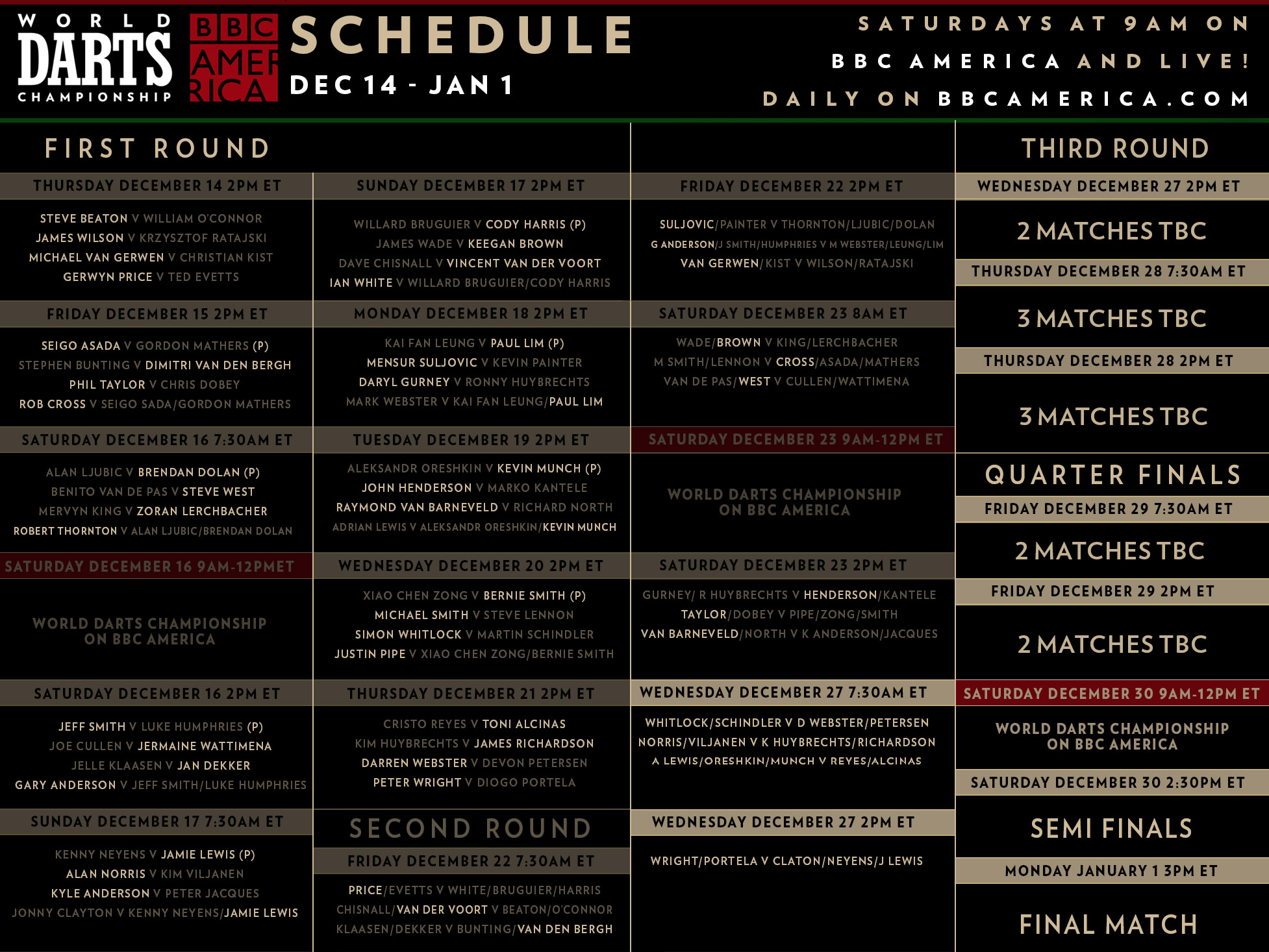 Darts schedule updated 12-26