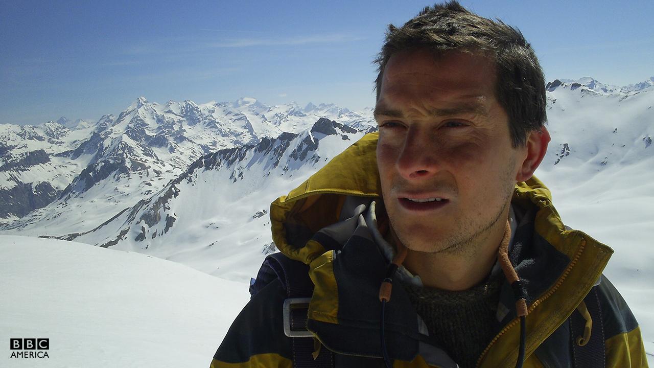 Bear Grylls in the European Alps.