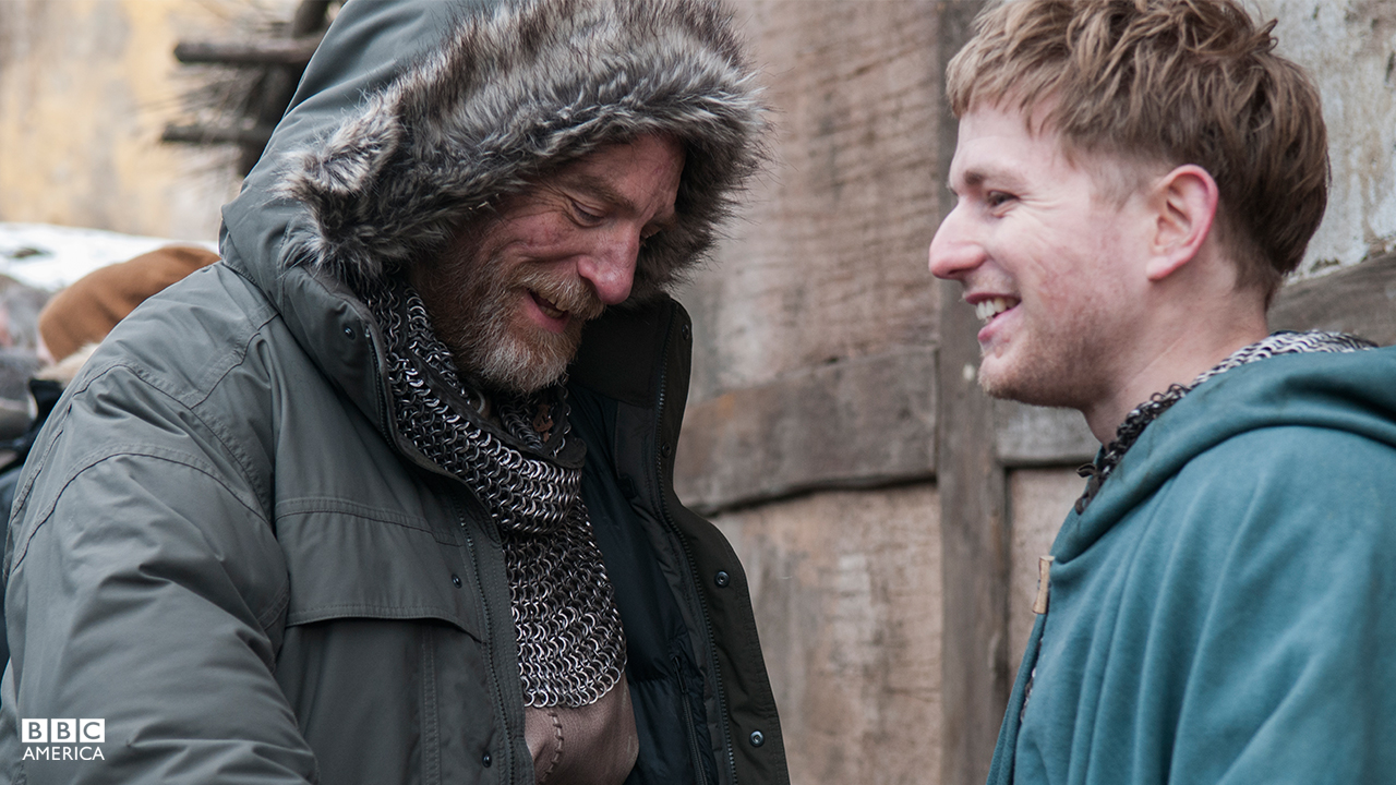 Simon Kunz (Odda the Elder) and Harry McEntire (Aethelwold).