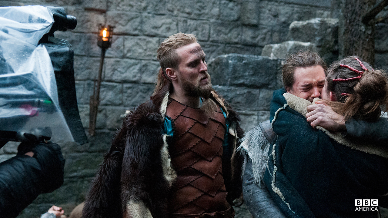 Tobias Santelmann (Ragnar the Younger), Alexander Dreymon (Uhtred) and Emily Cox (Brida).