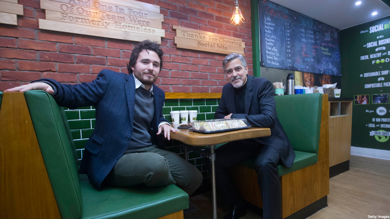 George Clooney and Josh LIttlejohn at Social Bite, Edinburgh (Photo: Jeff Holmes/Getty Images)