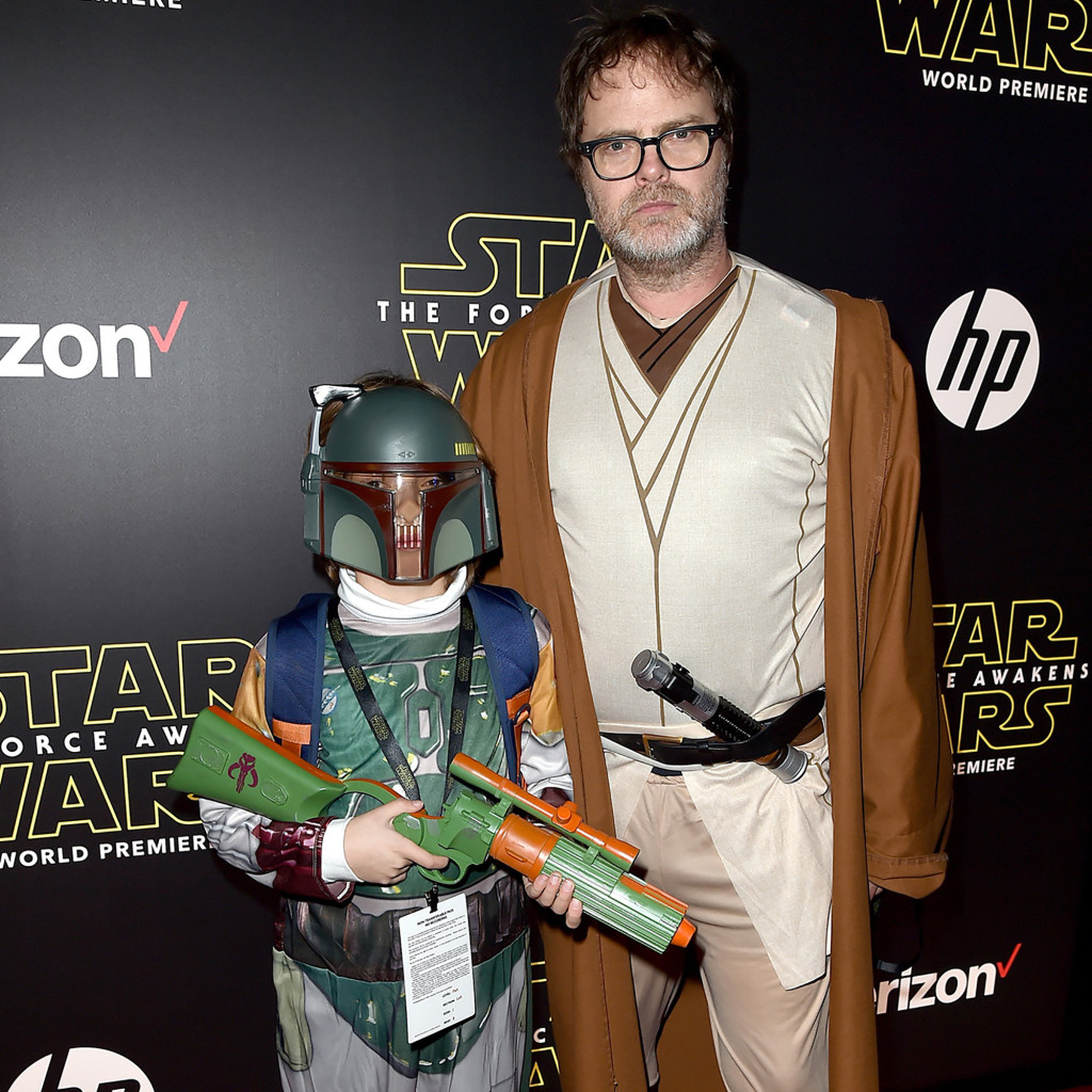 HOLLYWOOD, CA - DECEMBER 14:  Walter Wilson (L) and actor Rainn Wilson attend the World Premiere of ìStar Wars: The Force Awakensî at the Dolby, El Capitan, and TCL Theatres on December 14, 2015 in Hollywood, California.  (Photo by Kevin Winter/Getty Images for Disney)