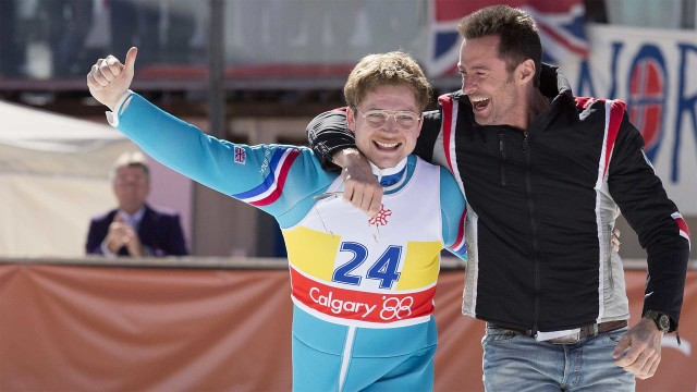 Taron Egerton and Hugh Jackman in Eddie the Eagle (Photo: Lionsgate UK)